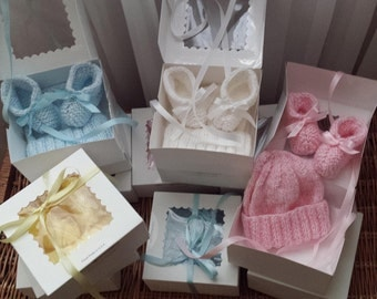 Baby Shower Gift Box Beanie and Booties Set. 4 Color Choices 100% Acrylic Yarn. Made in USA