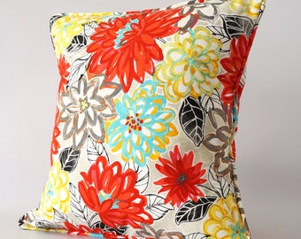 Red floral 18x18 pillow cover, red white floral pillow cover, floral pillow cover, red pillow with trim, decorative pillow cover, throw