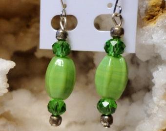 Green glass dangle earrings beads Handmade USA