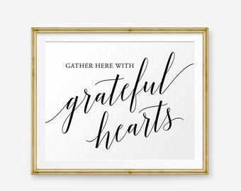 Gather here with grateful hearts printable, Thanksgiving Printable, Fall decor, Thanksgiving decor, Holiday Art