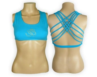 Om Sky Blue Yoga Bra Top - Om Criss Cross design workout bra - Athletic bra - sports bra - Hot Yoga Bra Top - Lycra Cotton Blend