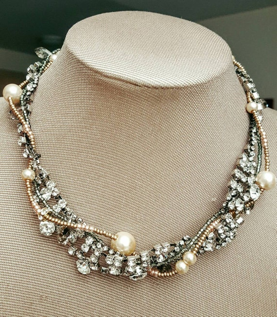 Items similar to Rhinestone and glass bead choker, Fall ...