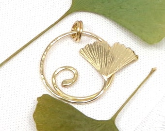 Art nouveau leaf pendant, ginkgo leaf pendant, brass ginkgo pendant, golden ginkgo necklace, elvish necklace, celtic jewel.