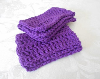 "Set of Two Hand Crochet Purple Washcloths, Dishcloths, and Facecloths 11 1/4"" by 7 1/2"" ( One Price Buys Two)"