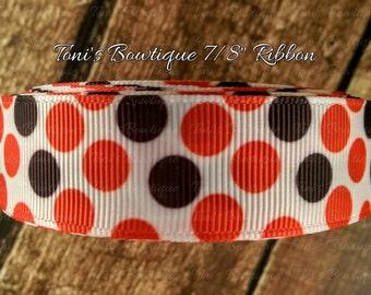 "Red and Black dots print 7/8"" Grosgrain Ribbon, Ribbon by the Yard, craft supply, hairbow supply, lanyard supply, dog collar supply"