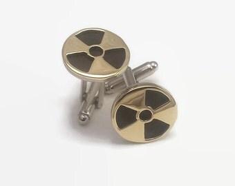 Radioactive Warning Cufflinks - Science Geek Jewelry in Brass and Anodised Aluminium