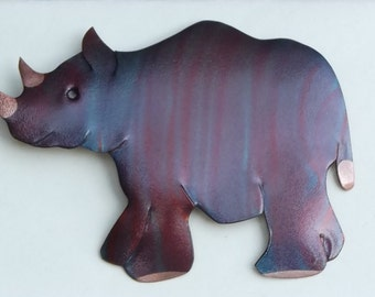 Flame painted copper Rhino, pin