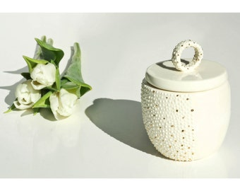 Handmade Ceramic Sugar Basin.Porcelain Dainty Sugar Bowl.White & gold.Contemporary Wedding Sugar Bowl Design by CONCEPTstudio. READY TO SHIP