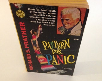 Vintage Pattern for Panic by Richard S. Prather 1960s Pulp Fiction Paperback Shell Scott Main Character