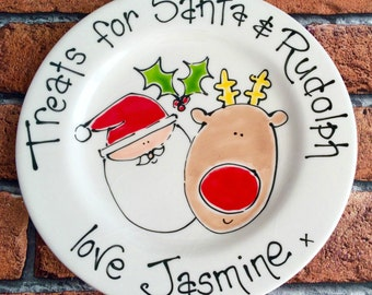 Personalised Hand Painted Ceramic Santa and Rudolph Christmas Eve Plate (with or without beaker)