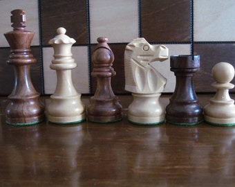 """Brand New  French knight sheesham/boxwood  weighted wooden chess pieces 3.5"""""""
