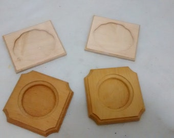 """Set of 4 Unfinished Wooden 4"""" Plaques"""