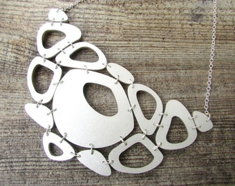 Silver Statement Necklace – Chunky Silver Necklace – Big Statement Necklace – Necklaces for Women – Gift Ideas for Women – Laser Cut Acrylc