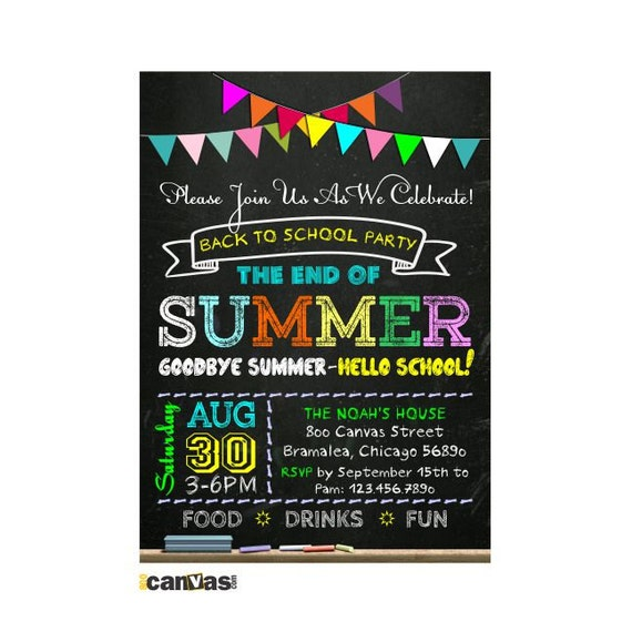 Back to School Party Invitation End of Summer Chalkboard – End of Summer Party Invitations