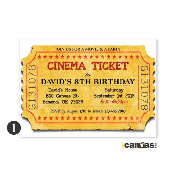 Unforgettable image in printable movie ticket invitation