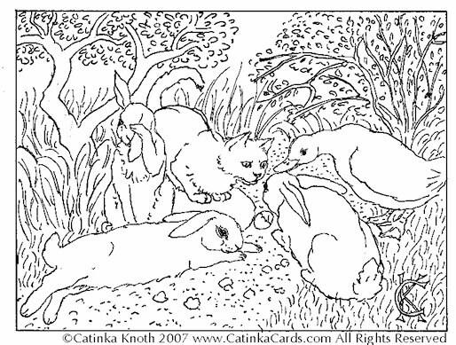 cat bunnies animals watch egg hatch spring garden coloring. Black Bedroom Furniture Sets. Home Design Ideas