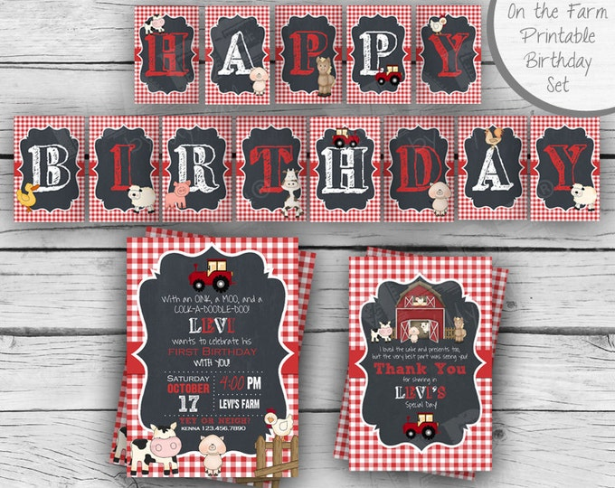 On the Farm Birthday Set, First Birthday, Girl Birthday, Boy Birthday, Party, Barnyard, Printable Stationery, Digital
