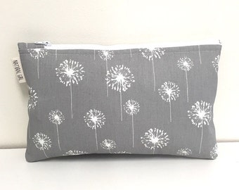 Zipper Wet Bag small size. Dandelions in grey and white. PUL waterproof lining. Natural Girl modern cloth pads