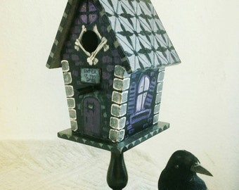 Wooden Haunted Birdhouse on Pedestal Hand Painted in Black, Silver, Purple, and White