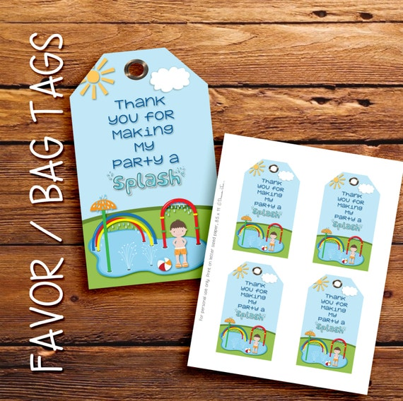 Splash Pad favor tags, gift tags, thank you tags. Brunette boy, Instant Download