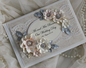 Personalised wedding guest book , lace wedding decoration, blush pink and silver wedding decoration, bride to be gift , wedding scrap book