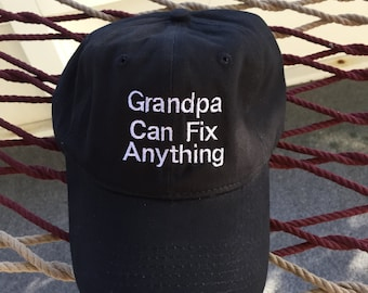 Grandpa Can Fix Anything - Black Hat With White Letters