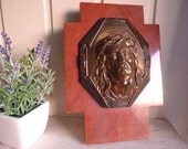 Vintage french wall cross with Jesus crown of thorns Catholic Christian Religious 1950's