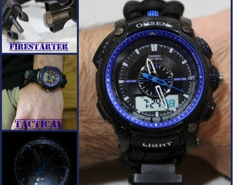 227 -THIN BLUE Line Tactical Survival Paracord Watch Firestarter Compass Calender Clock Whistle Razor Knife Stopwatch Alarm Flashlight BLACK