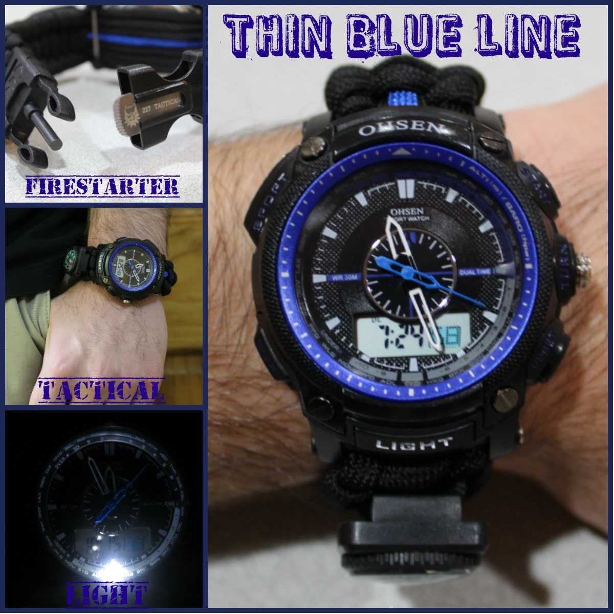 227 thin blue line tactical survival paracord watch