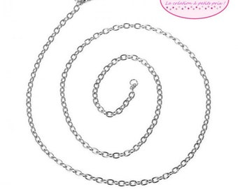 12 necklaces in silver grey chain 51cm