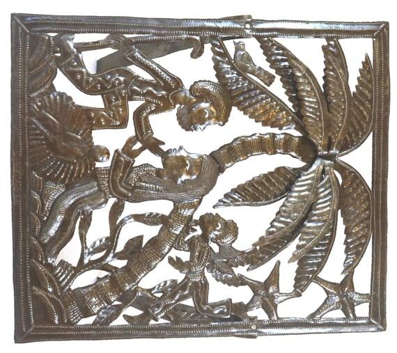 """Tropical Haitian Nativity, Haiti Metal Art  17"""" X 20"""""""