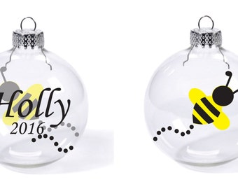 Bee Buzzy Bumble Honey Custom Name Date Christmas Glass Ball Ornament Gift