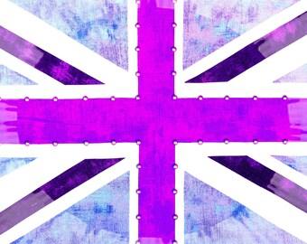 Union Jack Flag Purple Starburst Giclee Print