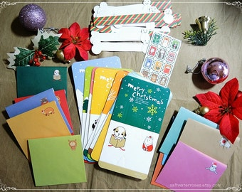 3D Cute Kawaii Christmas Cards, Set of 10 with Envelopes