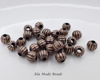 6MM Antique Copper Melon Beads (25) Antique Copper Corrugated Rounds