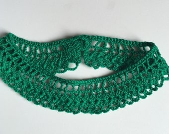 "Green Lace Necklace - 13"" - Handmade Crochet - No metal -  Item N42"