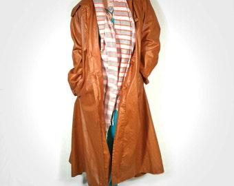 Vintage 1970s Russet Brown Balmacaan Trenchcoat Handmade, Wn's Sz XL