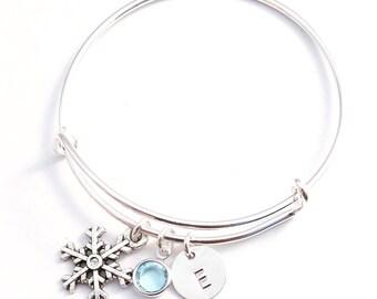 Gift for kids - Kids bracelet - Kids Birthday gift - Frozen bangle - Initial bracelet -Silver bangle - Adjustable bracelet