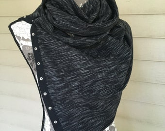 Summer Sale! Versatile Snap Scarf | Black & White |Multiple ways to wear |Accessory |Gifts for Her | Infinity | Fashion | Camila