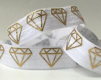 White with Gold Diamonds Hair Tie