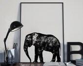 Elephant Print Home Decor, Minimalist Decor, Home Decor, Minimalist Art Illustration, Poster Print Art, Typography Print, Printable Decor