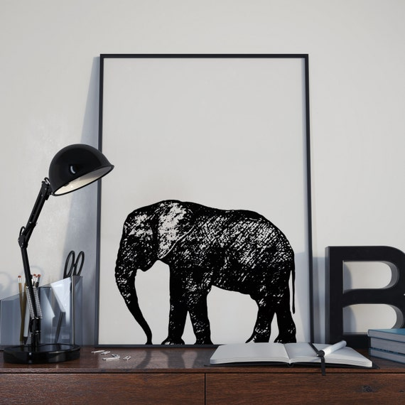 elephant home decor wall art print minimalist home decor