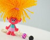 trolls charm necklace - kids essential oil diffuser - lava bead oil diffuser - oil diffuser necklace - lava bead necklace - trolls gift