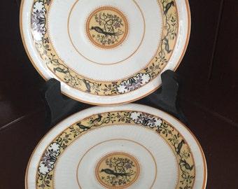 MYOTT SONS & CO, England, Hand Painted 2 Vintage Pheasant Bird Plates