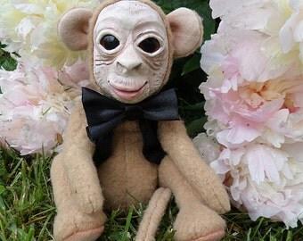 Monkey doll  Hugo .little soft monkey,Handmade .Soft toys.Stuffed animals.Ladolll