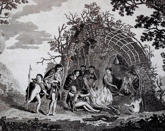 1785 Terra Del Fuego Natives in Hut, Folio Antique Engraving, Exploration Voyages. Original Copper-plate Engraving on laid paper.
