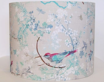 Beautiful Handmade Lampshade Birds Bees Butterflies Grey Aqua 20cm 25cm 30cm Lightshade
