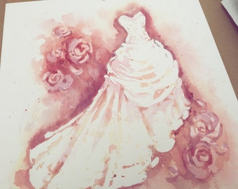 Wedding dress portrait- Watercolor- Anniversary gift