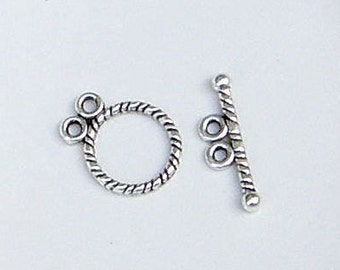 Circle Toggle Clasp, 2 Strand Clasp, Multi-Strand Clasp, Antique Silver Tibetan Style Toggle Clasp, (CLP-T-AS-12), 5 sets