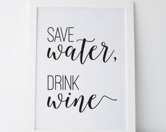 printable art save water drink wine wall art wall prints gallery wall prints funny - Wine Wall Decor